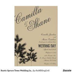 Rustic Spruce Trees Wedding Invitation