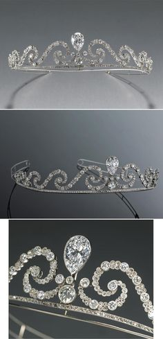 From the Collection of Mildred Montigue Genevieve Kimball, the Property of The Cherokee Ranch & Castle Foundation, Sedalia, Colorado. An exceptional belle époque diamond tiara, circa 1905, the old European-cut diamond scroll centering a bezel-set old pear-shaped diamond weighing 7.26 carats; remaining diamonds weighing approximately: 25.70 carats; mounted in platinum.