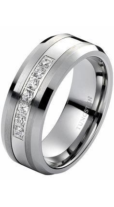 8mm Tungsten Carbide Ring with Brilliant Diamonds Mens Wedding Band