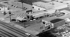 Ariel view of White Rock Car Bath and Jack and Jill Bowling Lanes, 10229 Garland Road, Dallas, Texas.   The bowling lanes are long gone, but the car wash is going strong since 1954.   Original photo hanging in White Rock Car Bath.