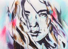 | Hannah Adamaszek aka Hannah Chloe, UK based urban artist painting bohemian inspired portraits both in the gallery and outside space.