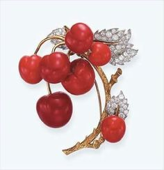 Coral and diamond brooch by Tiffany. Designed as a gold branch suspending coral cherries, to the circular-cut diamond leaves, mounted in gold and platinum Coral Jewelry, Tiffany Jewelry, Jewelry Accessories, Fine Jewelry, Jewelry Design, Tiffany Art, Fashion Accessories, Antique Jewelry, Vintage Jewelry