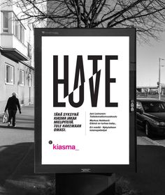 Poster for LOVE&HATE -exhibitions at Kiasma, Museum of Contemporary Art
