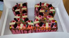 Number 12 Dripping Chocolate Cake with Chocolates, Oreos, Cherries and Wafers.