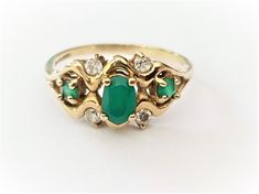Vintage Ladies Genuine Art Deco Emerald and Spinel Trilogy Engagement Ring in 9 ct Yellow Gold FREE POSTAGE Included by GloryBeVintageWares on Etsy