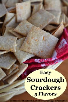 This easy sourdough cracker recipe comes with five seasoning options - garlic and onion, pizza, taco, ranch and cheddar cheese. Sourdough Starter Discard Recipe, Sourdough Recipes, Bread Recipes, Sourdough Bread, Skillet Recipes, Homemade Crackers, Pizza Flavors, Snacks, Baking Recipes