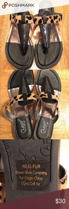 Selling this New Carlos Santana sandals with real calf fur 8.5 on Poshmark! My username is: beachteach. #shopmycloset #poshmark #fashion #shopping #style #forsale #Carlos Santana #Shoes