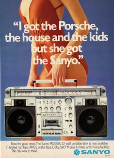 Old boombox ad. Poor guy got burned. 80s Ads, Retro Advertising, Vintage Advertisements, Vintage Ads, 1980s, Boombox, Radios, Portable Deck, Nostalgia