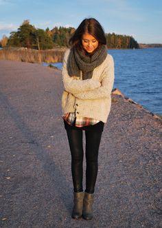 chunky sweater + scarf