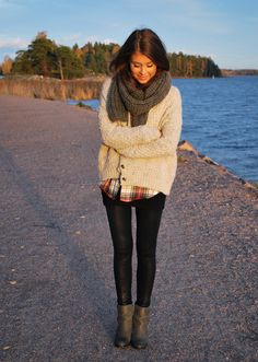 knit and plaid with a hint of leather leggings