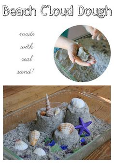 Beach Sand Cloud Dough Recipe (with real sand!) from Fun at Home with Kids