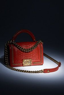 Boy CHANEL flap bag with handle, python, lambskin & bronze metal-dark red - CHANEL