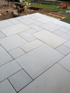 Garden slabs - Sawn Kandla Grey Indian Sandstone Paving Garden Slabs, Garden Tiles, Patio Slabs, Garden Paving, Paving Stone Patio, Outdoor Paving, Bluestone Patio, Grey Pavers, Poured Concrete Patio