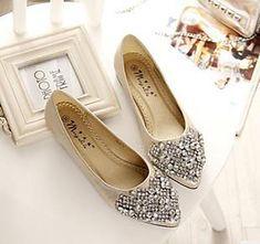 Flats Shoes Women Ballet Princess For Casual Crystal Boat Rhinestone PLUS  Size Gold 4 Fashion Flats 4649b09f92b7