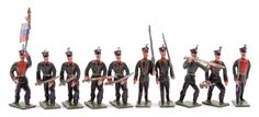 Heyde or Similar German Maker No 3 [43-48mm] size solids made prior to 1945, Russian Infantry, circa, 1912, comprising: Officer on Foot, Colour Bearer, Bugler & 7 x Infantrymen depicted in various Action Poses. Some minor paint chips otherwise generally Excellent. Rare, the first examples to be sold by Vectis. [10]
