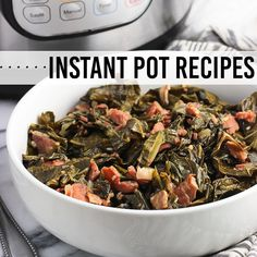 Instant Pot collard greens are a Southern-inspired side dish made much quicker in an electric pressure cooker. These Southern greens have a ton of flavor from bacon and ham, and you'll want to drizzle the cooking liquid on everything! Italian Anise Cookies, Italian Ricotta Cookies, Spritz Cookies, Fig Cookies, Oven Roasted Sweet Potatoes, Roasted Poblano Peppers, White Bean Soup, Homemade Taco Seasoning, Collard Greens
