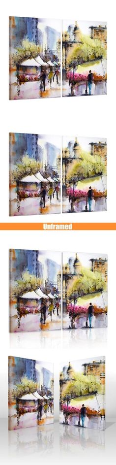 Arts And Crafts: Hd Canvas Print With Frame Canvas Picture Wall Art Painting Watercolor Street BUY IT NOW ONLY: $34.16 #priceabateArtsAndCrafts OR #priceabate