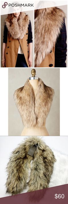 NWT Anthropologie Faux Fur Collar Stole Brand new with tags! So cute and perfect for winter! Faux fur. Printed lining. No trades!! 011517120wst Anthropologie Accessories Scarves & Wraps