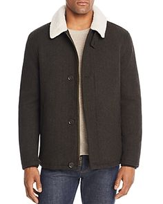 Cole Haan Sherpa Trimmed Herringbone Jacket In Olive Herringbone Jacket, Jackets Online, Cole Haan, Raincoat, Mens Fashion, Jacket Men, Clothes, Shopping, Collection