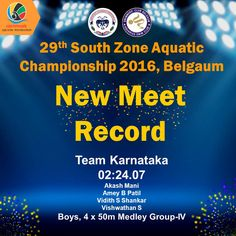 Congratulations Team Karnataka for the New Meet Record of day 2 Timing -02:24.07 in the event Boys, 4 x 50m Medley GROUP-IV  Akash Mani  Amey B Patil  Vidith S Shankar  Vishwathan S #SwimIndia