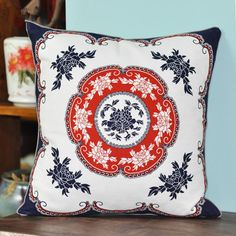 Chinoiserie peony flower throw pillows Chinese-style sofa cushions for sale online