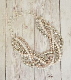 Twisted Pearl and Rhinestone Necklace  in Neutral Tones with a hint of Blush by JoyKatharine, $68.50  www.joykatharine.etsy.com