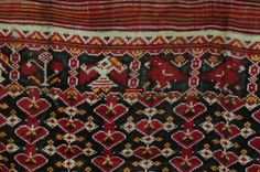 137 Antique Weaver's Heirloom Patan Patola Double Ikat Sari Fragment