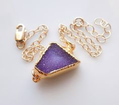 Drusy Bracelet in Midnight Purple Druzy Jewelry OOAK by 443Jewelry, $68.00