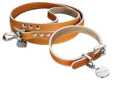 Luxury dog collar and lead. Hennessy & Sons Saffiano Hermes Tan Leather Dog Collar &