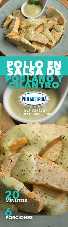 Te conocemos tanto que estamos seguros de que tu familia te pondrá un 10 con este Pollo en salsa de poblano y cilantro. #recetas #receta #quesophiladelphia #philadelphia #quesocrema #queso #comida #cocinar #cocinamexicana #recetasfáciles #recetasPhiladelphia #recetasdecocina #comer #pollo #salsa #picante #poblano #chile #recetapollo #recetacomida #salsas #salsaverde