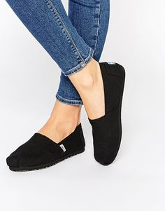TOMS+All+Over+Black+Canvas+Slip+On+Trainers