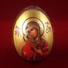 Vintage Hand Painted Madonna and Child Wooden Egg Knickknack BB314|We combine shipping|No Question Refunds|Bid $60 for free shipping. Starting at $1
