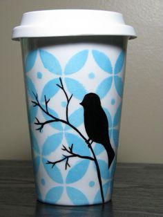 Painted Travel Mug- Pop Of Color, Sky Blue with Bird Silhouette. $35.00, via Etsy.