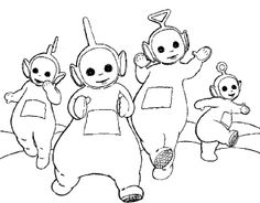 Teletubbies Dancing Always Together Coloring For Kids