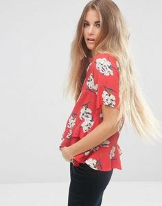 ASOS T-Shirt in Floral Print with Ruffle Hem