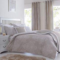Versailles Natural Reversible Duvet Cover and Pillowcase Set | Dunelm