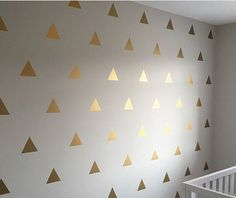 100 Gold Metallic Triangle Wall Stickers, Decoration Confetti, Wall Decals, Vinyl, Envelope, Car, Office, Home, Nursery Wallpaper, Wedding by QuoteMyWall on Etsy https://www.etsy.com/uk/listing/486293983/100-gold-metallic-triangle-wall-stickers