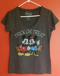 Disney Trick or Treat Halloween Mickey Minnie T Shirt Top Women's XL #Disney #GraphicTee