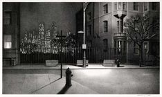 New York Nocturne - Stow Wengenroth - Lithograph: Nyc City Art, Artist 1881 1962 Rockwell Kent, Norman Rockwell, Edward Hopper, Nocturne, Haunted Tree, Modern Artists, City Art, American Artists, Architecture