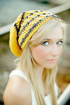 0c691c5881a Items similar to Extra Long Beanie Hat Yellow Sunflower and Charcoal Gray  Striped Hat Teen Hats Fall Fashion Winter Hat Knit Hat Crochet Hat on Etsy