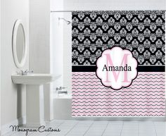 Monogram Customs - Pink Whimiscal Monogram Shower Curtain, $74.99 (http://www.monogramcustoms.com/pink-whimiscal-monogram-shower-curtain/)