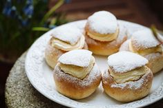 Semlor! So good! Aus conversion needed for below: 1/3 c unsalted butter 1T2t yeast 1/3 c sugar 1 c half and half 2T2t powdered sugar 3.5 oz marzipan 1/2 c heavy cream