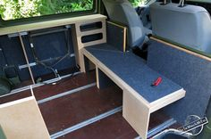 Half Finished MDF Bench and Cabinets of the Homemade Campervan