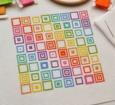 KIT Geometric Squares Cross Stitch Kit  by theworldinstitches