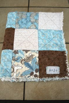 Beautiful Tan, Brown and Periwinkle Blue Rag Quilt Crib or Toddler Size on Etsy, $45.00