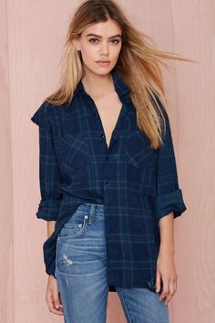 After Party Vintage Surefire Flannel - Navy | Shop What's New at Nasty Gal