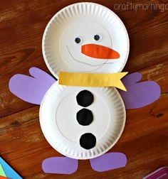 DIY Easy paper plate snowman - winter paper craft for kids // Egyszerű papír tányér hóember - téli dekoráció gyerekeknek // Mindy - craft tutorial collection // #crafts #DIY #craftTutorial #tutorial #PaperCrafts #KreatívÖtletekPapírból