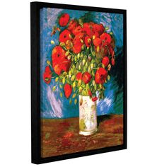 Poppies by Vincent Van Gogh Floater Framed Painting Print Gallery Wrapped on Canvas