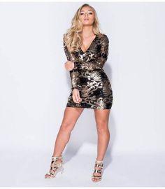 ae84b46138be Μακρυμάνικο Club Wear μίνι φόρεμα με παγιέτες Clubwear