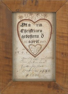 "Southeastern Pennsylvania ink and watercolor fraktur birth certificate for Maria Christein, b. 1757, 5 1/4"" x 3 1/4""."